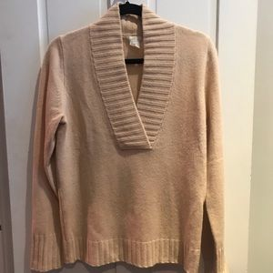 JCrew Cashmere V neck Khaki Sweater SzM